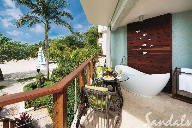 Jamaica  - Negril Sandals Negril Beach Resort & Spa - Caribbean Beachfront Walkout Grande Luxe Club Level Room w/ Patio Tranquility Soaking Tub